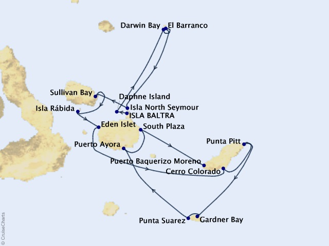 Galápagos Islands Expedition Cruise Map