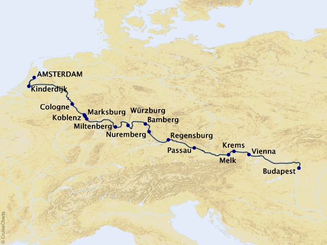 14-night Grand European Tour Cruise Map
