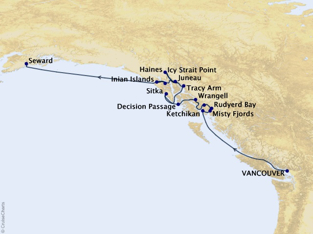 11-night Ultimate Alaskan Sojourn Cruise Map