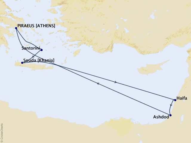8-night Greek Islands & Israel Cruise Itinerary Map