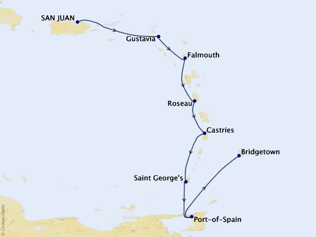 8-night Eastern & Southern Caribbean Cruise Map