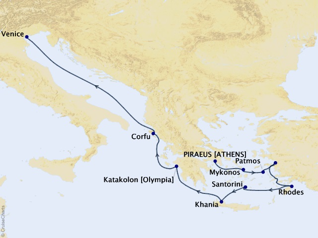 11-night Greece Intensive Voyage Map