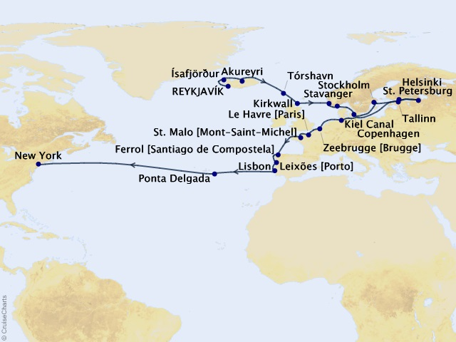 32-night North Atlantic Endeavor Voyager Map