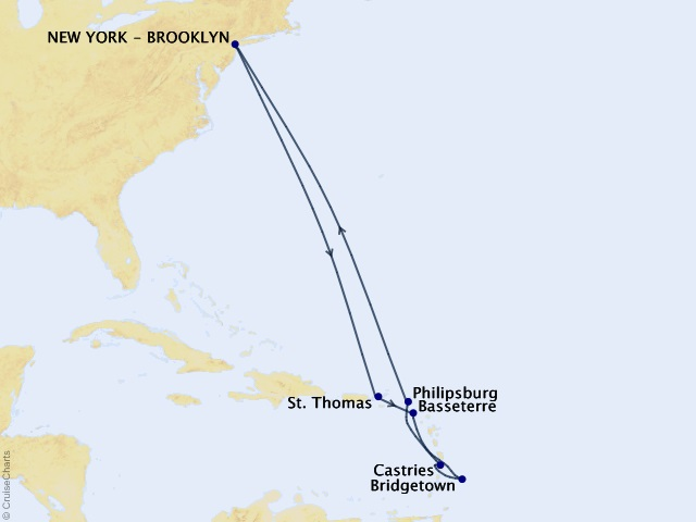 12-night Eastern Caribbean Cruise Map
