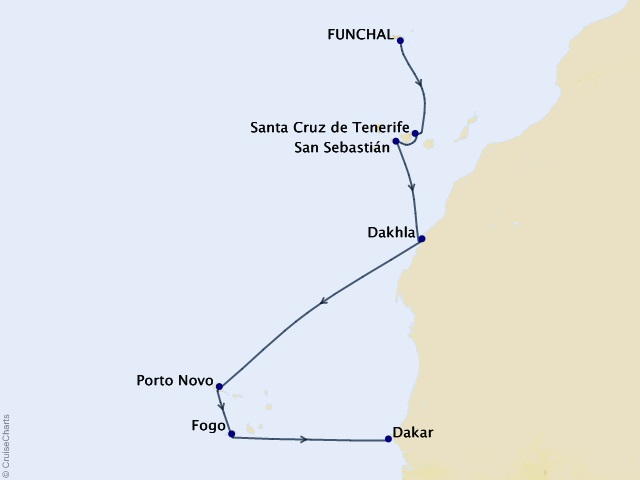 9-night Canary Islands & Africa Cruise Map