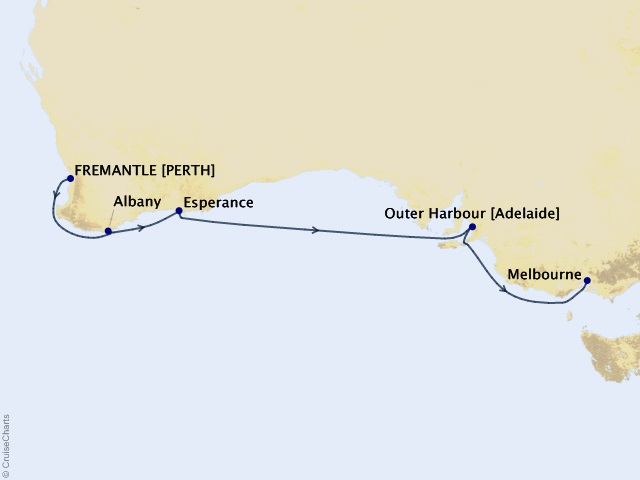 8-night Southern Australia Cruise Map