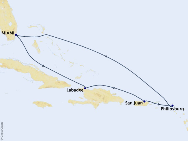 7-night Eastern Caribbean Holiday Cruise  Itinerary Map