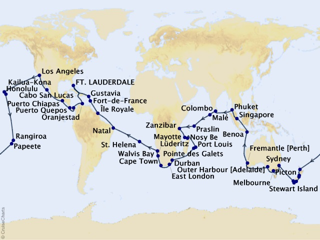 111-night World Cruise – Roundtrip Ft  Lauderdale Cruise