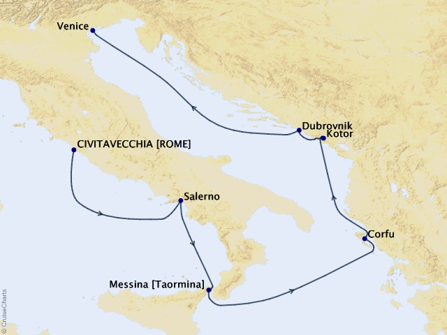 7-night Retreat to the Mediterranean Cruise Map