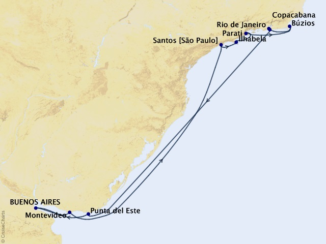 15-night New Year's Eve in Rio Voyage Map